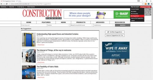 Construction Canada can help you find articles of interest, by curating a collection of articles based on your interest and which features you have read.