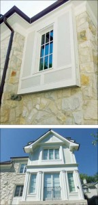 A boxed lookout with recessed trim. Cellular PVC offers an enduring esthetic for architectural finishes.