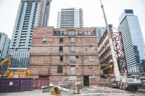 Chinese real estate developer Greenland Group is conducting the highest façade ever retained in Canada at Toronto's Westinghouse location.  Photo © Geoff Fitzgerad