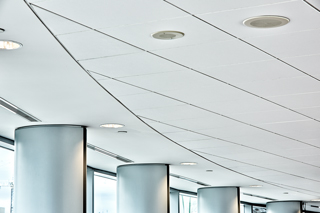 Ceiling selection can be an important component when considering strategies for noise control in open-plan offices. To learn more, and get a bigger picture of complementing sound masking systems, check out the new Construction Canada e-book. Photo © John Lynch of Bochsler Creative Solutions. Photo courtesy Rockfon