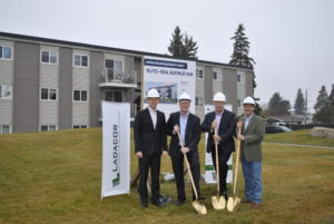 A groundbreaking ceremony for Westgate Manor was held this fall. The Edmonton apartment rental agency will be the first in the city to make use of modular building construction incorporating repurposed shipping containers. Photo courtesy Ladacor