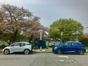 A curbside charging station at Kitsilano Beach Park in Vancouver. Photo courtesy Flo