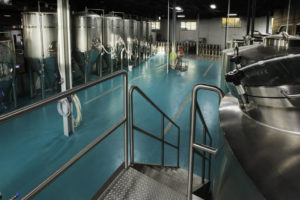 Brewery with a urethane cement floor coating. All images courtesy Tennant Coatings