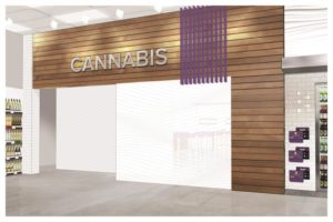 Rendering of the entrance to the cannabis zone in an existing Nova Scotia liquor store. Photo courtesy Nova Scotia Liquor Corporation