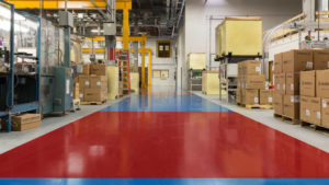 Manufacturing plant with an electrostatic (ESD) floor coating.