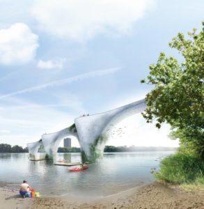 Sans détour, a bridge concept, won the People's Choice Award. Photo courtesy ADHOC Architectes