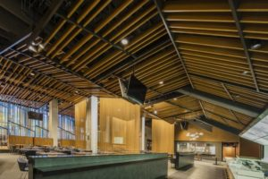 The Target Center Arena in downtown Minneapolis employed a customized metal ceiling solution from Hunter Douglas. Photo © Bob Perzel