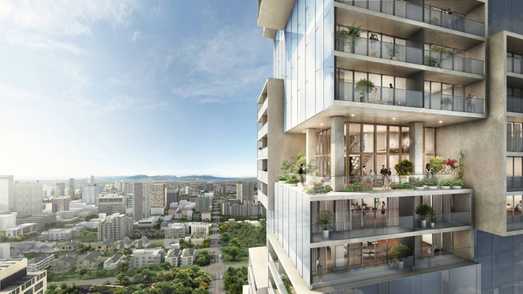 Designed by Büro Ole Scheeren, the Barclay Village development in Vancouver is a diverse mix of residences with public amenities, communal spaces, and a network of green areas that extends to the building's top floors. Image courtesy Büro Ole Scheeren