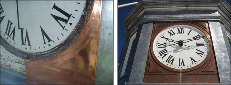 Copper recladding is underway. The image on the right shows the tower after recladding was complete.