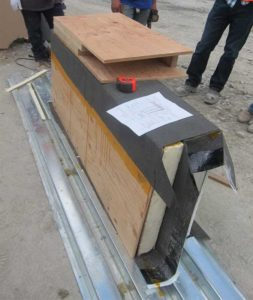 Example of roof parapet mockup being constructed onsite.
