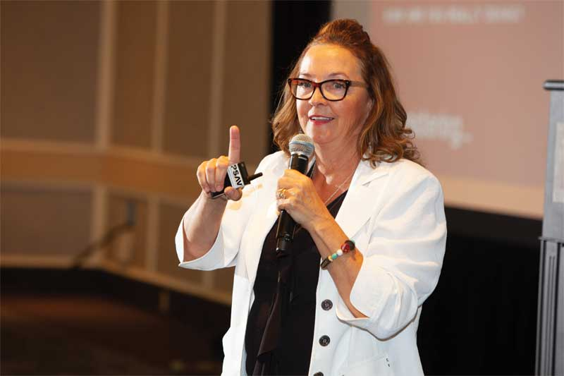 "Motivational speaker Linda Edgecombe had delegates laughing with her keynote presentation, ""Holy Crap I'm Busy."""