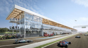 Rendering of a renovated Circuit Gilles-Villeneuve, a Formula One racing circuit in Montréal. Image courtesy Société du parc Jean-Drapeau