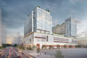 Rendering of a redeveloped Canada Post building in Vancouver. Image courtesy QuadReal Property