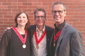 Susan Gushe and David Dove congratulate Ryan Bragg (middle), principal at Perkins+Will, on his induction into the Royal Architectural Institute of Canada's (RAIC's) College of Fellows, class of 2018. Photo courtesy Perkins+Will