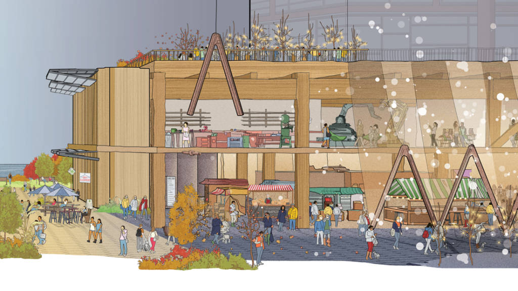 "Heated and modular pavements, ""building raincoats,"" flexible wall panels, and tall timber buildings are proposed for Toronto's Quayside project, jointly developed by Sidewalk Labs and Waterfront Toronto. Images courtesy Sidewalk Labs"