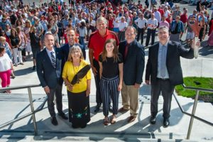 Dr. George MacLean, University of New Brunswick (UNB) vice-president academic (Fredericton), Fredericton MP Matt DeCourcey, UNB elder-in-residence Imelda Perley, deputy premier Stephen Horsman, UNB kinesiology student Mikaela Dodig, Dr. Wayne Albert, UNB dean of kinesiology, and Dr. Eddy Campbell, UNB's vice-chancellor, attended the official ribbon-cutting event for the new kinesiology building at UNB Fredericton. Photo courtesy UNB