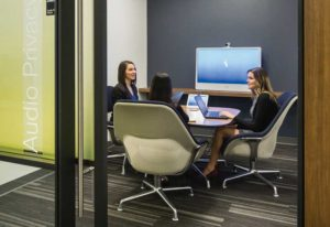 At the Cisco Headquarters in Toronto, employees can see their position on a map of the building and find the nearest empty meeting room, unoccupied desk, or colleagues.