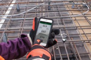 Connecting to wireless concrete sensors via smartphone and mobile application.