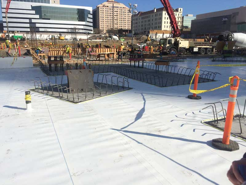 A waterproofing membrane installed at the Golden 1 Center in Sacramento. Photo courtesy GCP Applied Technologies
