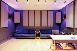 The control room at Lynx Music was fitted with bass traps at the corners. Bass traps are thick absorbers employed to provide more control for lower frequencies.