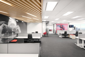 Sports visuals are integrated into the new Toronto headquarters of the Canadian Olympic Committee. Photo © Maxime Brouillet