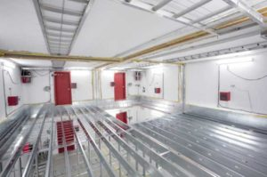 Research carried out in the National Research Council Canada's (NRC's) acoustic test facility included cold-formed steel framing for loadbearing walls and cold-formed steel joists for floor-to-ceiling assemblies. Image courtesy National Research Council Canada