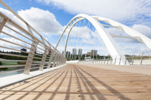 Modified wood decking has been used on the new Walterdale Bridge in Edmonton. Photo courtesy Kebony