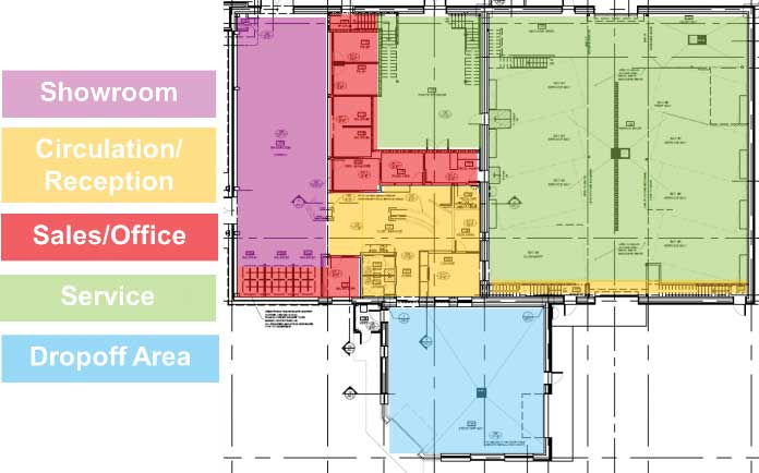 Utilization of a car dealership in Red Deer, Alta., by zone. Image courtesy Cover Architecture