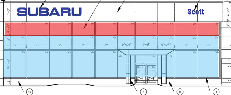 South elevation showing insulated spandrel panel (red) and standard curtain wall glazing (blue).  Image courtesy Cover Architecture