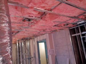 An acoustical ceiling and batt insulation.