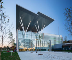 The Joyce Centre for Partnership and Innovation in Mohawk College, Hamilton, has employed several high-performance elements including solar panels, geothermal wells, and occupancy censor-controlled heating, cooling, and light-emitting diode (LED) lighting. Photo © Ema Peter