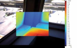 Figure 3: Thermal image at building corner (sill level).