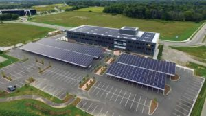 Solar design integrated at evolv1, the first project to receive a Zero Carbon Building–Design certification from the Canada Green Building Council (CaGBC). The roof is a 264-kW feed-in tariff system, while the 504 kW of panels on the carports provide power directly to building occupants.
