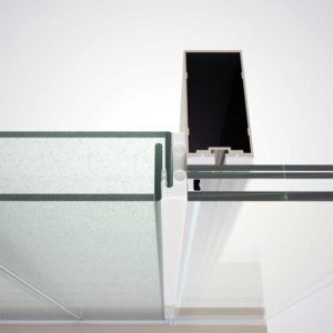 Perspective view of the connection between the channel glass system (no jamb) and insulated glass unit (IGU). Image © Said Elieh, Bendheim
