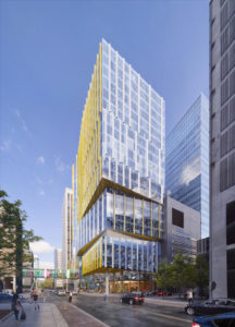 A rendering of the 22-storey Patient Support Centre (PSC) at the SickKids hospital campus in Toronto. Photo courtesy B+H Architects/SickKids