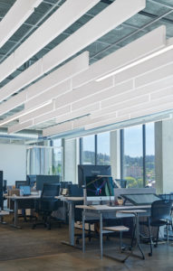 Nearly 300 SoundScapes Blades from Armstrong Ceiling Solutions were installed throughout the new Wacom headquarters.