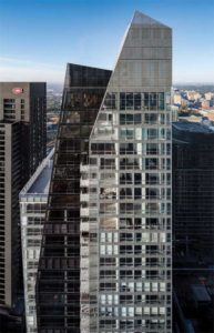A tinted, grey glass with low-emissivity (low-e) coating was employed for the dark component of the L'Avenue building. The glass on the clear glazing section is suitable for high-rises as the solar heat gain co-efficient (SHGC) is only 0.42.