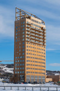 Mjøstårnet, a mixed-use building in Brumunddal, Norway, is the world's tallest timber building. Photo courtesy the Council on Tall Buildings and Urban Habitat
