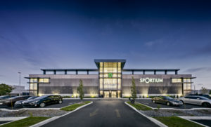 The design of Sportium, a sports store in Québec is inspired by stadiums and sports fields. Photo © Marc Cramer