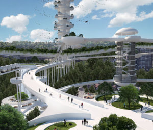 DPAI architects have proposed a futuristic project called Fibroblast Tower to 'heal' the Niagara Escarpment in Hamilton. Photo courtesy DPAI