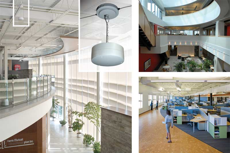 A sound masking system's loudspeakers are installed in a grid-like pattern within the ceiling. These components distribute a background sound professionally tuned post-installation to meet a masking spectrum or 'curve'. Photos © Zahid Ghafoor (left), Janet Trost (top right), SHW Group (bottom right)