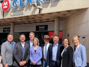 Mike Whitfield (PCL), Michael Lockwood (Populous), Keith Bowers (PCL), Arliss Szysky (Stantec), Jim Laurendeau (Calgary Stampede), Leo Lejeune (Stantec), Genevieve Giguere (S2), Kate Thompson (CMLC). Photo courtesy Stantec