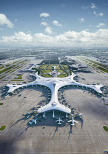 MAD Architects' proposed design for Terminal 3 of Harbin Taiping International Airport in Harbin, China, falls into its wintry landscape like a snowflake. Image courtesy MAD Architects