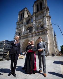 In a recent visit to Paris, Prime Minister Justin Trudeau offered Canadian steel and lumber to support the restoration efforts for the iconic Notre Dame cathedral. Photo courtesy CanadianPM Twitter