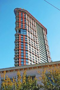 The W Tower (Woodwards Building) in Vancouver displays intricate decorative panels protected by a duplex system. Photo courtesy American Galvanizers Association
