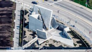 Winner of the Concrete Award for Architectural Hardscape, the National Holocaust Monument in Ottawa is comprised of six triangular concrete elements configured to create the points of a star. Photo courtesy Hanson Ready Mix