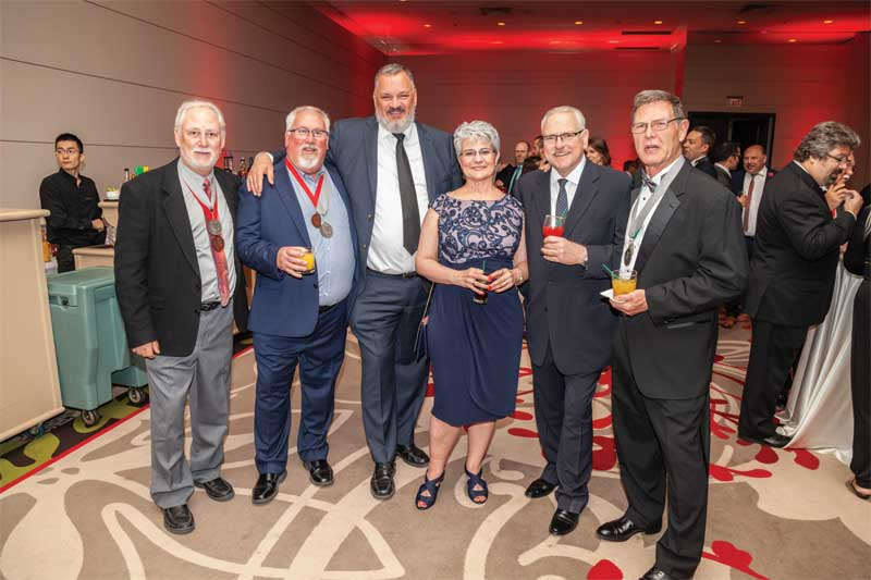 Getting ready for the President's Ball were (left to right) CSC past-presidents Peter Emmett, FCSC, CCA, and David Boyle, FCSC, CTR; CSC executive director Nick Franjic, CAE; Nancy Boyle; Kenilworth Media Inc. editorial director Blair Adams; and John Lape, FCSC, FSCI, CCS.