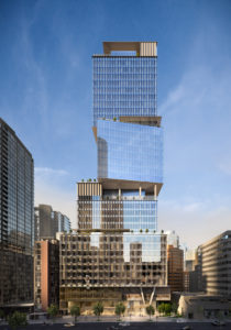 The Stack office tower rises 36-storeys and features an intricate stacked box design. Image courtesy CNW Group/Oxford Properties Group Inc.