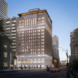 The redevelopment of the iconic Park Hyatt Toronto will feature luxury hotel rooms, apartments, and restaurant and retail stores. Images courtesy Oxford Properties Group