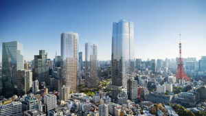 The Toranomon-Azabudai redevelopment project seeks to create a modern urban village in central Tokyo, Japan. Image courtesy Mori Building Co.